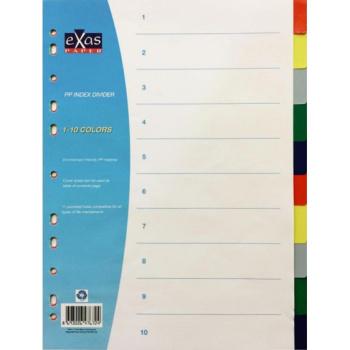Πλαστικά διαχωριστικά Exas Α4 με χρώματα 10 θεμάτων για καθημερινή χρήση.