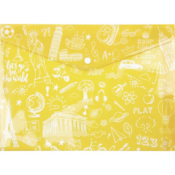 ΦΑΚΕΛΟΣ ΜΕ ΚΟΥΜΠΙ Α4 ΚΙΤΡΙΝΟΣ DOODLE BAG 33x23.2cm TYPOTRUST FP25404-05