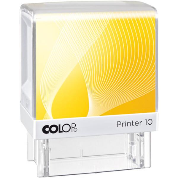 Σφραγίδα Colop G7 New Printer 10 Αυτομελανώμενη Λευκή με κίτρινη ετικέτα για κατασκευή σφραγίδας έως 6 γραμμών κειμένου.