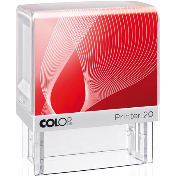 Σφραγίδα Colop G7 New Printer 20 Αυτομελανώμενη Λευκή με κόκκινη ετικέτα, για κατασκευή σφραγίδας έως 3ων γραμμών κειμένου.