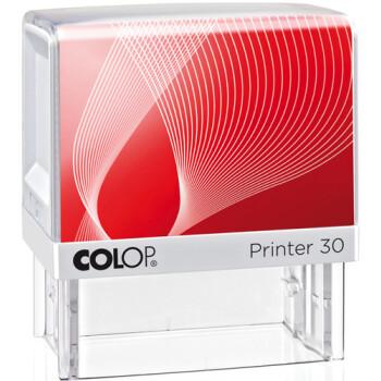 Σφραγίδα Colop G7 New Printer 30 Αυτομελανώμενη Λευκή με κόκκινη ετικέτα για κατασκευή σφραγίδας έως 4ων γραμμών κειμένου.