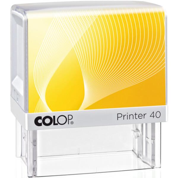 Σφραγίδα Colop G7 New Printer 40 Αυτομελανώμενη Λευκή με κίτρινη ετικέτα για κατασκευή σφραγίδας έως 6 γραμμών κειμένου.