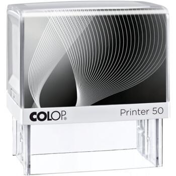 Σφραγίδα Colop G7 New Printer 50 Αυτομελανώμενη Λευκή με Μαύρη ετικέτα για κατασκευή σφραγίδας έως 8 γραμμών κειμένου.