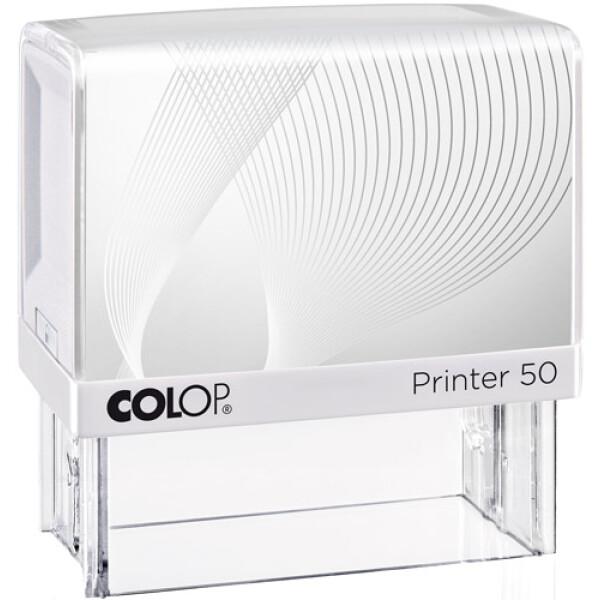Σφραγίδα Colop G7 New Printer 50 Αυτομελανώμενη Λευκή με λευκή ετικέτα για κατασκευή σφραγίδας έως 8 γραμμών κειμένου.