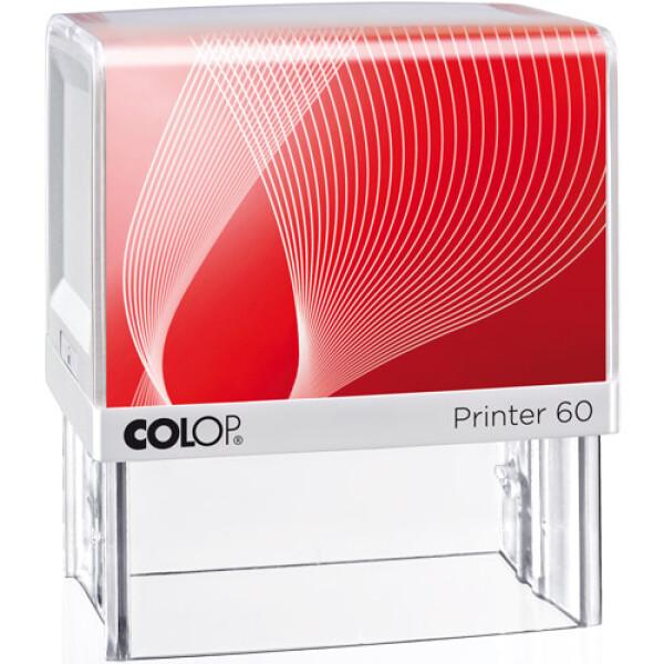 Σφραγίδα Μηχανικών Colop G7 New Printer 60 Αυτομελανώμενη Λευκή με Κόκκινη ετικέτα, για κατασκευή σφραγίδας έως 7 γραμμών κειμένου.
