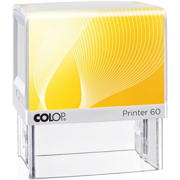 Σφραγίδα Colop G7 New Printer 60 Αυτομελανώμενη Λευκή με Κίτρινη ετικέτα για κατασκευή σφραγίδας έως 10 γραμμών κειμένου.