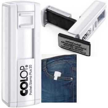 Σφραγίδα Colop Pocket Stamp Plus 20 Τσέπης Λευκή για κατασκευή σφραγίδας έως 3ων γραμμών κειμένου.