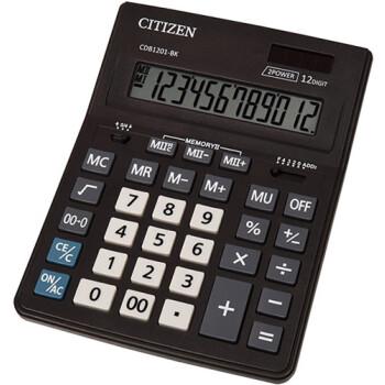 """Αριθμομηχανή Γραφείου Citizen 12 ψηφίων CDB1201-BK με extra μεγάλη οθόνη για """"άνετους"""" επαγγελματικούς υπολογισμούς με διάσταση μηχανής 20,5cm x 15,5cm."""
