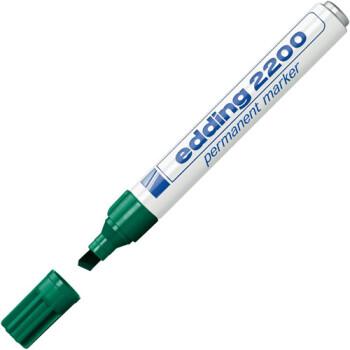 Μαρκαδόρος Edding 2200 Πράσινος με σώμα από αλουμίνιο για σκληρη χρήση και τετράγωνη μύτη πάχους 1,5 έως 3mm.
