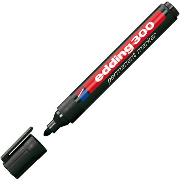 Μαρκαδόρος Edding 300 Μαύρος με πλαστικό σώμα και στρογγυλή μύτη πάχους 1.5 έως 3mm.