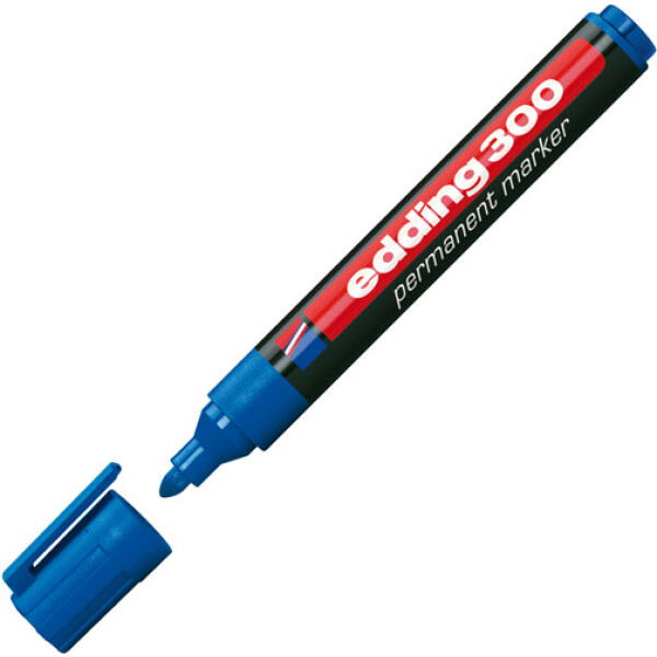 Μαρκαδόρος Edding 300 Μπλε με πλαστικό σώμα και στρογγυλή μύτη πάχους 1.5 έως 3mm.