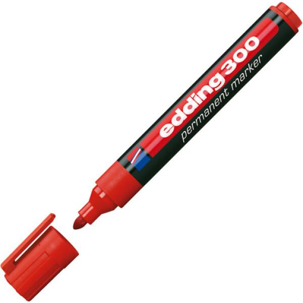 Μαρκαδόρος Edding 300 Κόκκινος με πλαστικό σώμα και στρογγυλή μύτη πάχους 1.5 έως 3mm.