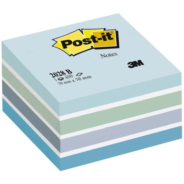 POST-IT 3M Αυτοκόλλητα Χαρτάκια Σημειώσεων σε κύβο Μπλε αποχρώσεων με 450 αυτοκόλλητα διαστάσεων 76x76mm και κωδικό 2028-B.