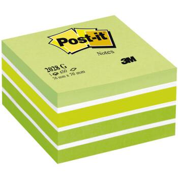 POST-IT 3M Αυτοκόλλητα Χαρτάκια Σημειώσεων σε κύβο Πράσινων αποχρώσεων με 450 αυτοκόλλητα διαστάσεων 76x76mm και κωδικό 2028-G.