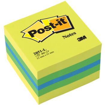 POST-IT 3M Αυτοκόλλητα Χαρτάκια Σημειώσεων σε μίνι κύβο Κίτρινου και πράσινου χρώματος με 400 αυτοκόλλητα διαστάσεων 51x51mm και κωδικό 2051-L.