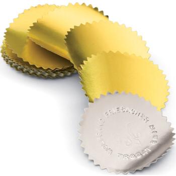 Χρυσές αυτοκόλλητες ετικέτες Trodat Wafers με διάμετρο 5,4cm ιδανικές για πρέσες ανάγλυφης εκτύπωσης.