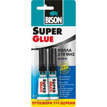 Κόλλα Στιγμής Bison 3gr σε συσκευασία με 1+1 δώρο κόλλα  υγρή για συγκολλήσεις σε όλες τις  επιφάνειες.