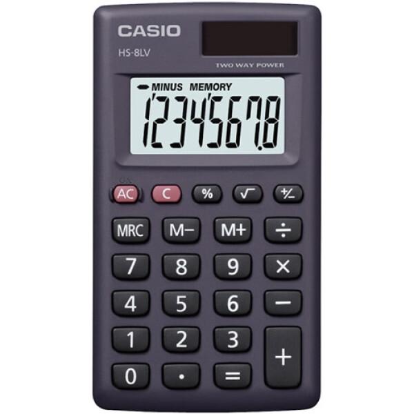 Αριθμομηχανή Τσέπης Casio 8 ψηφίων HS-8LV μαύρη σε πλαστική θήκη και μεγάλη οθόνη για υπολογισμούς με μεγάλη ακρίβεια διαστάσεων 10,1cm x 5,7cm.
