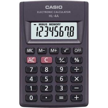 Αριθμομηχανή Τσέπης Casio 8 ψηφίων HL-4A μαύρη για υπολογισμούς με μεγάλη ακρίβεια διαστάσεων 8,7cm x 5,6cm.