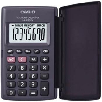 Αριθμομηχανή Τσέπης Casio 8 ψηφίων HL-820LV μαύρη με καπάκι και μεγάλη οθόνη για υπολογισμούς με μεγάλη ακρίβεια διαστάσεων 10cm x 6cm.