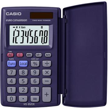 Αριθμομηχανή Τσέπης Casio 8 ψηφίων HS-8VER μαύρη με καπάκι και μεγάλη οθόνη για υπολογισμούς με μεγάλη ακρίβεια διαστάσεων 10cm x 6cm.