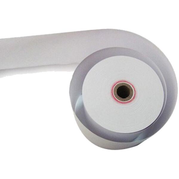 Χαρτοταινία Θερμική για ταμειακές μηχανές αυτογραφική με πλάτος 8cm, πάχος ρολού 8cm και μήκος ταινίας 65 μέτρα.