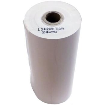 Χαρτοταινία Θερμική για ταμειακές μηχανές & φορολογικούς, αυτογραφική με πλάτος 11cm, πάχος ρολού 5cm και μήκος ταινίας 24 μέτρα.
