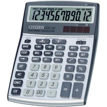 """Αριθμομηχανή Γραφείου Citizen 12 ψηφίων CCC-112 με extra μεγάλη οθόνη για """"άνετους"""" επαγγελματικούς υπολογισμούς με διάσταση μηχανής 20,8cm x 15,6cm."""