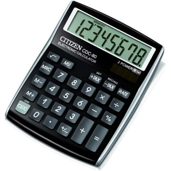 Αριθμομηχανή Γραφείου Citizen 8 ψηφίων CDC-80BK με μεγάλη οθόνη για υπολογισμούς με μεγάλη ακρίβεια διαστάσεων 13,5cm x 10,8cm.