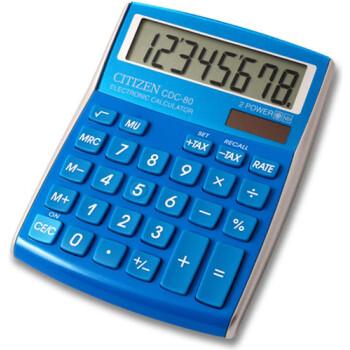 Αριθμομηχανή Γραφείου Citizen 8 ψηφίων CDC-80LB με μεγάλη οθόνη για υπολογισμούς με μεγάλη ακρίβεια διαστάσεων 13,5cm x 10,8cm.