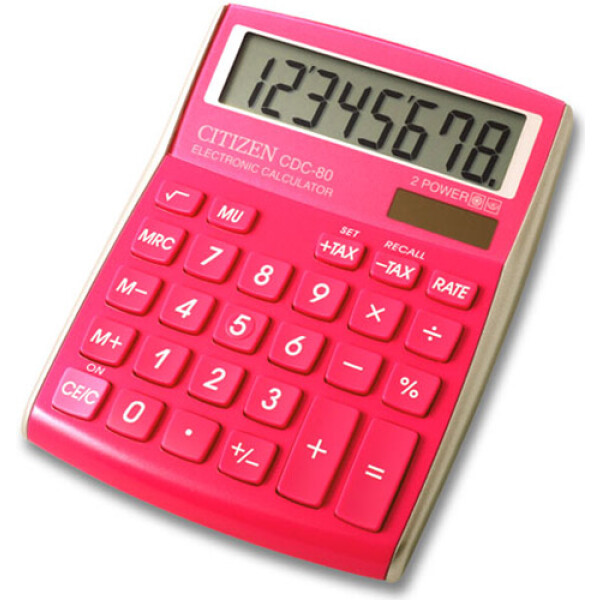 Αριθμομηχανή Γραφείου Citizen 8 ψηφίων CDC-80PK με μεγάλη οθόνη για υπολογισμούς με μεγάλη ακρίβεια διαστάσεων 13,5cm x 10,8cm.