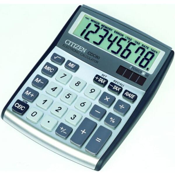 Αριθμομηχανή Γραφείου Citizen 8 ψηφίων CDC-80 με μεγάλη οθόνη για υπολογισμούς με μεγάλη ακρίβεια διαστάσεων 13,5cm x 10,8cm.