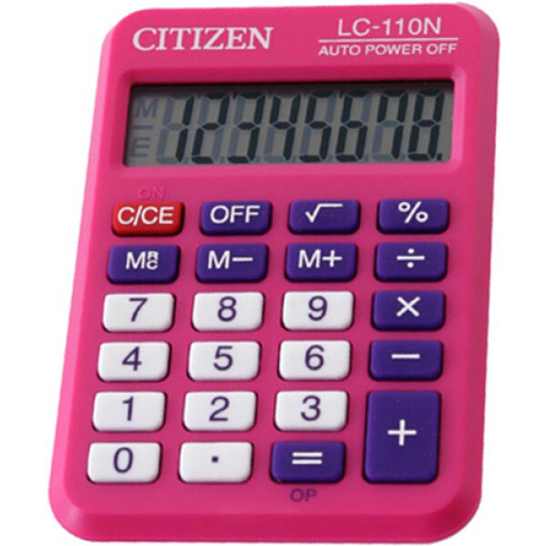 Αριθμομηχανή Τσέπης Citizen 8 ψηφίων LC-110NPK Ροζ σε πλαστική θήκη και ευδιάκριτη οθόνη για υπολογισμούς με μεγάλη ακρίβεια διαστάσεων 8,7cm x 5,8cm.