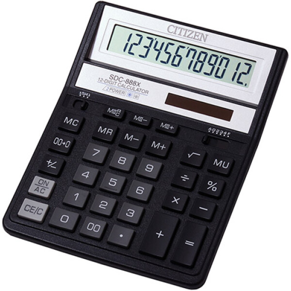 """Αριθμομηχανή Γραφείου Citizen 12 ψηφίων SDC-888XBK με extra μεγάλη οθόνη για """"άνετους"""" επαγγελματικούς υπολογισμούς με διάσταση μηχανής 20,5cm x 15,5cm."""