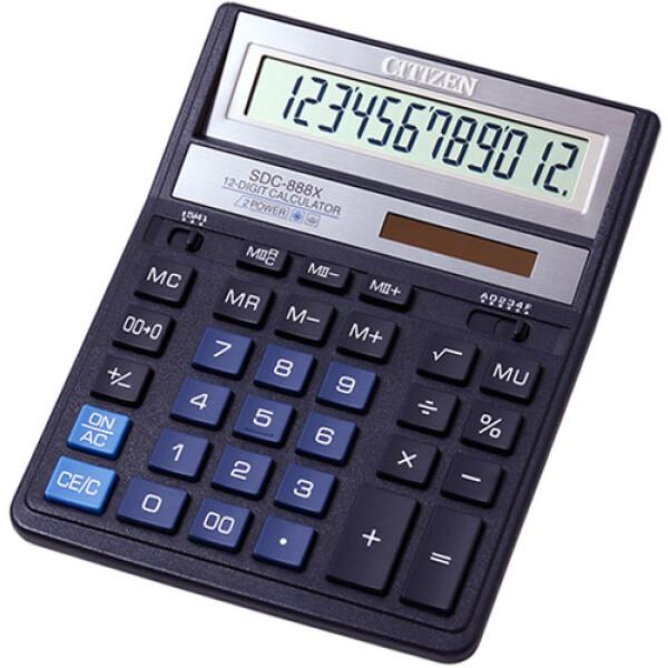 """Αριθμομηχανή Γραφείου Citizen 12 ψηφίων SDC-888XBL με extra μεγάλη οθόνη για """"άνετους"""" επαγγελματικούς υπολογισμούς με διάσταση μηχανής 20,5cm x 15,5cm."""