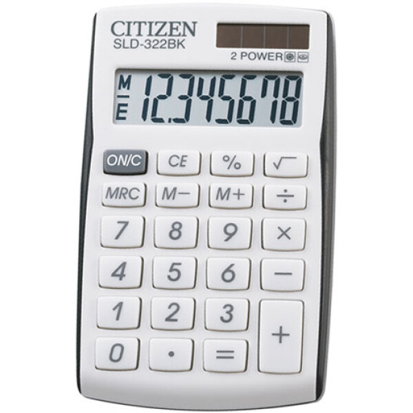 Αριθμομηχανή Τσέπης Citizen 8 ψηφίων SLD-322BK Λευκή για υπολογισμούς με μεγάλη ακρίβεια διαστάσεων 10,5cm x 6,4cm.