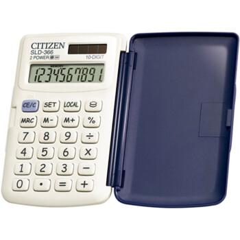 Αριθμομηχανή Τσέπης Citizen 10 ψηφίων SLD-366BP Λευκή με καπάκι για υπολογισμούς με μεγάλη ακρίβεια διαστάσεων 10,4cm x 6,6cm.