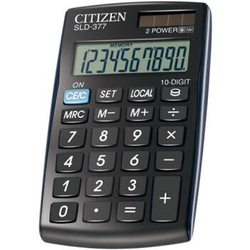 Αριθμομηχανή Τσέπης Citizen 10 ψηφίων SLD-377 Mαύρη με μεγάλη οθόνη για υπολογισμούς με μεγάλη ακρίβεια, διαστάσεων 10,5cm x 6,4cm.