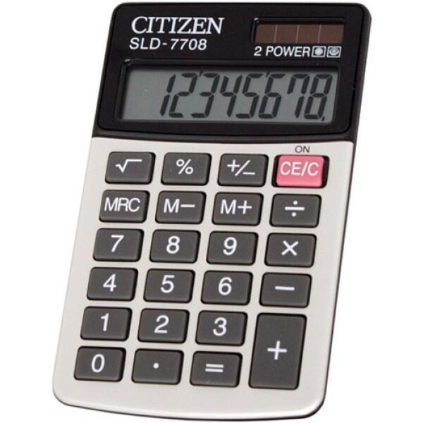 Αριθμομηχανή Τσέπης Citizen 8 ψηφίων SLD-7708 Λευκή για υπολογισμούς με μεγάλη ακρίβεια διαστάσεων 11,2cm x 6,8cm.