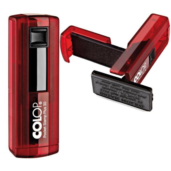 Σφραγίδα Colop Pocket Stamp Plus 30 Τσέπης Κόκκινη (Ruby) για κατασκευή σφραγίδας έως 5 γραμμών κειμένου.
