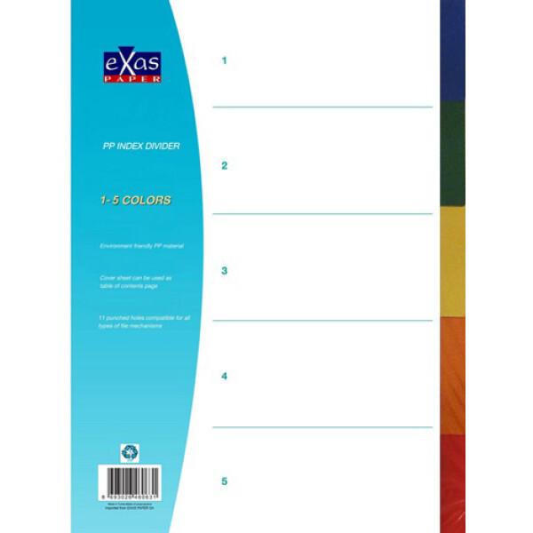 Πλαστικά διαχωριστικά Exas Α4 με χρώματα 5 θεμάτων για καθημερινή χρήση.