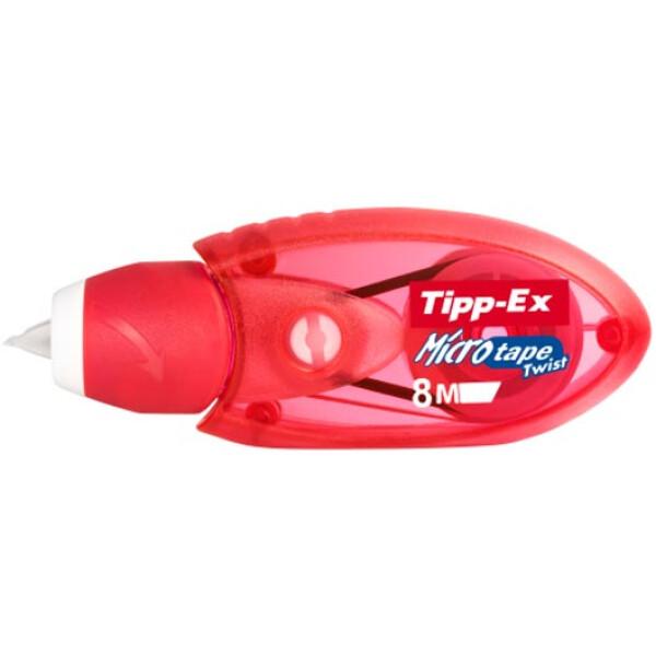 Διορθωτική Ταινία Tipp-Ex Micro Tape με πάχος διόρθωσης 5mm και 8 μέτρα μήκος σε μηχανισμό Κόκκινο.