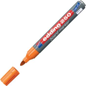 Μαρκαδόρος Edding 250 Πορτοκαλί με σώμα από αλουμίνιο και στρογγυλή μύτη πάχους 1.5 έως 3mm.
