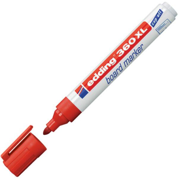 Μαρκαδόρος Edding 360XL Κόκκινος με πλαστικό σώμα και στρογγυλή μύτη πάχους 1.5 έως 3mm.