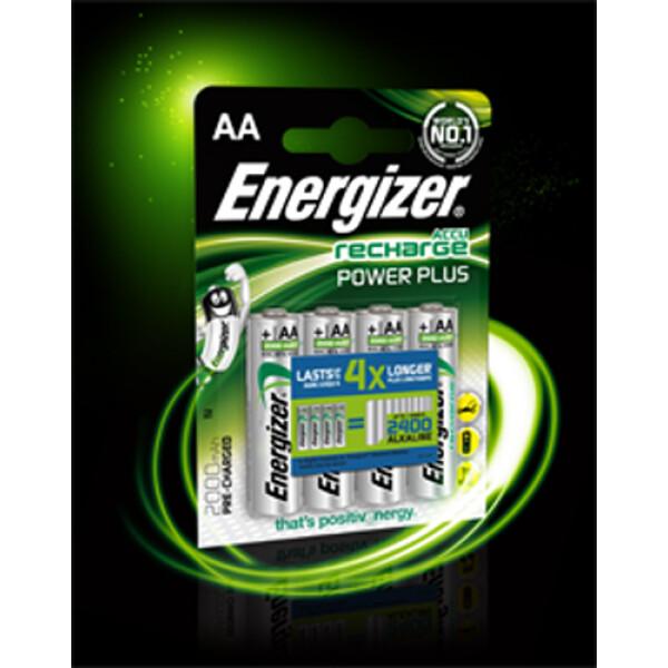 Μπαταρίες Energizer Recharge Power Plus Επαναφορτιζόμενες NH15, 1.2V, NIMH-HR6, 1300mAh τύπου ΑΑ παρέχουν απόδοση ίση με 1600 αλκαλικές μπαταρίες.