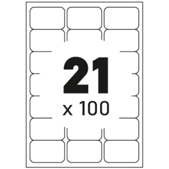 Ετικέτες Εκτυπωτών Αυτοκόλλητες Typolabel, σε κουτί 100 φύλλων και σύνολο 2100 ετικέτες για εκτύπωση.