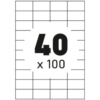Ετικέτες Εκτυπωτών Αυτοκόλλητες Typolabel, σε κουτί 100 φύλλων και σύνολο 4000 ετικέτες για εκτύπωση.