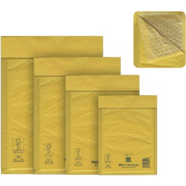 Φάκελος Mail Lite Gold Β/00 εσωτερικής διάστασης 12x21cm με εσωτερική επένδυση από αεροφυσαλίδες για ασφαλείς μεταφορές.