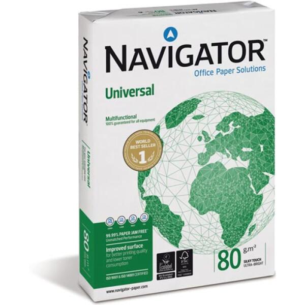 Χαρτί Α4 NAVIGATOR Λευκό 80gr για καθημερινή χρήση με διάσταση 21 x 29,7cm σε πακέτο 500 φύλλων.
