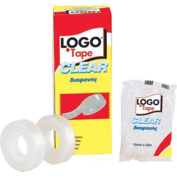 Κολλητική Logo Tape Clear διάφανη οικονομική για καθημερινή χρήση με πλάτος 12mm και μήκος 33 μέτρα.